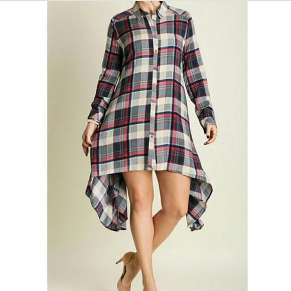 PLAID BUTTON UP SHIRT DRESS PLUS SIZE Boutique